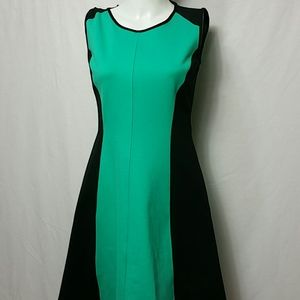 New York & Co. X-SMALL Green fitted flare Dress